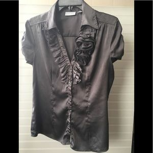New York & Company Gray Rose Blouse